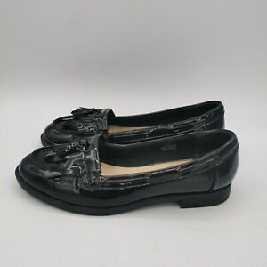 M&S Ladies Black Patent Insolia Loafer Flat Shoes - Size UK 4 NEW