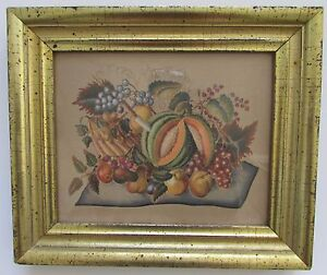 Theorem Watercolor on Velvet Reproduction ThanksgivingFruit New England Folk Art