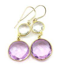 Amethyst Earrings Pink Purple Bezel Round Clear Quartz Double 14k Gold Filled
