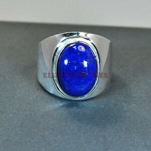Natural Lapis Lazuli Gemstone with 925 Sterling Silver Ring for Men's EG1106