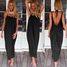 Boho Women Long Maxi Dress Loose Backless Beach Evening Holiday Sundress UK 6-18