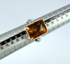 Sterling Silver Ring 31.45 Carat Yellow Citrine Gemstone Emerald Cut Certified