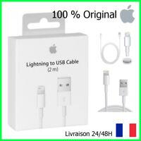 CÂBLE 2M ORIGINAL IPHONE 5/5C/5S/6/6S/6+/7/7+/8/X CHARGEUR APPLE LIGHTNING USB