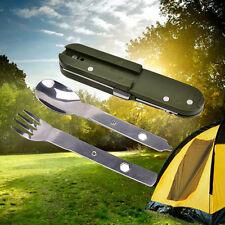 Army Green Folding Stainless Steel Camping Knife Fork Spoon Bottle Opener BDAU