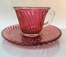 Federal Glass Diana Cranberry Ruby Flashed Demitasse and Saucer