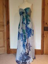 Costa de seda gris y azul con huesos Top Vestido largo patrón de mezcla, Doble Forro. Talla 12