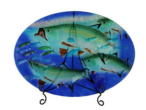 Guy Harvey Blue and Green Tarpon Oval Glass Tray with Display Stand