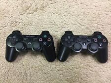 Pair 2 Genuine OEM Sony Playstation 3 PS3 Dual Shock 3 Wireless Controller Black