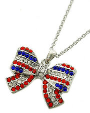 Freedom Bow Necklace Silver-Tone & Red, Blue, and Clear Sparkling Rhinestones
