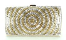 Women Evening Bag Wedding Bridal Prom Party Clutch Handbag Crystal Gold Circles