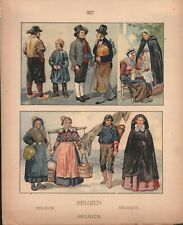 Belgium - Folk-Dress - Flanders - Brussels Country, Brabant -1925 Costume Plate