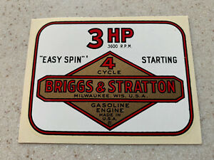NOS Vintage Briggs & Stratton 4 Cycle Water Transfer 3 HP Engine Decal Sticker