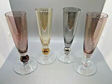 LSA International Set of 4 Metallic Iridescent Bubble Stem Champagne Glasses