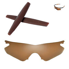 Walleva Polarized Brown Replacement+Brown Earsocks for Oakley M Frame Heater