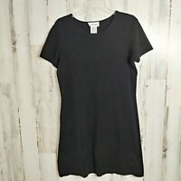 Talbots T-Shirt Dress Women's Size Small Solid Black Short Sleeves