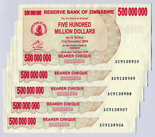 Zimbabwe 500 Million Dollars x 5 pcs 2008 P60 consecutive VF currency bills