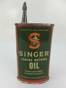 Vintage SINGER Sewing Machine Oil Tin 3 Fl. Oz Made in Great Britain
