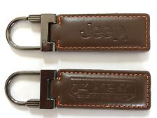 Jeep Key Chain Ring Brown Leather 75 Years Wrangler Sahara Willys Rubicon Sport