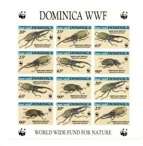 SPECIAL LOT WWF Dominica 1994 1647-50 - Hercules Beetle- Sheetlet of 12 - IMPERF