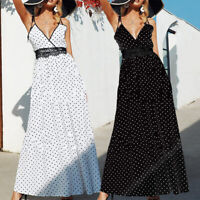 Women Lace Long Dress Polka Dot Sleeveless V-neck Party Evening Holiday Sundress