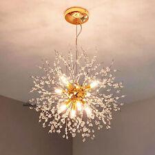Gold Pendant Chandelier Hanging 8 Light Crystal Lighting Fixture Dining Room Bar