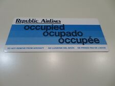 Republic Airlines Seat Occupied Card 1980s =