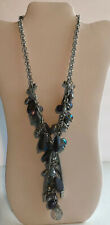 CHICO'S Necklace Dangle Silver Tone Gray Metallic