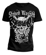 """T-Shirt """"SMOKING SKULL"""" Totenkopf Metal Biker Gothic Punk Bong Ganja Gang Gras"""