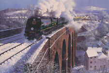 Exeter Ovest Paese Südbahn motore a vapore treno Natale Xmas CARD