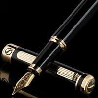 Black Lacquer Fountain Pen  - Stunning Pen with 24K Gold Finish,