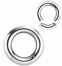 HIGH POLISHED SURGICAL STEEL SEGMENT RING  GUAGE 4g-2g - 5mm-6mm SPRING CLOSURE