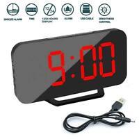 Digital Electronic Mirror Alarm Clock Red LED Night Light Bedside Wall Dual USB