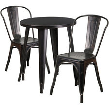 24'' Round Black Antique Gold Metal Outdoor Restaurant Table Set w/2 Cafe Chairs