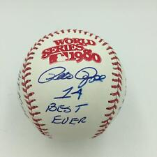 Beautiful Pete Rose Signed Heavily Inscribed Stat 1980 World Series Baseball JSA