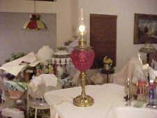 RARE PITTSBURGH LAMP BRASS & GLASS CARDINAL RED SATIN ARTICHOKE OIL LAMP  -  NR