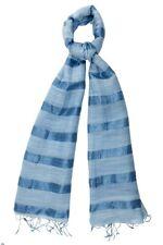 Blue Silk and Linen Stripe Scarf - Fair Trade BNWT 180cm x 80cm *LAST ONE*