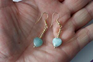 Pretty Gold Plated Earrings With Heart Opaline 2.4 Gr. 3 Cm. Long + Hooks In Box