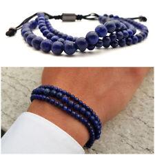 Bracciale uomo pietra pietre dure lapislazzuli naturali con braccialetto blu da