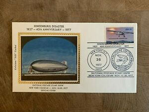 ZEPPELIN COVER 1977 USA COLORANO SILK HINDENBURG DISASTER ANNIV NY STAMP SHOW 02