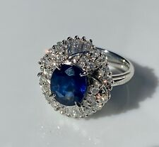 Beautiful Platinum Sapphire & Diamond Ring. 3.60 ctw. Size 6.