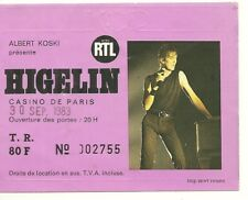 RARE / TICKET BILLET DE CONCERT - JACQUES HIGELIN : LIVE A PARIS ( FRANCE ) 1983