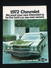 Vtg 1972 Chevrolet Car Dealer Sales Brochure Caprice Impala Be Air