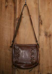 Vintage Handmade Brown Leather Purse Shoulder Bag