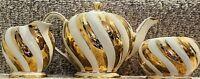 SADLER LUSTERWARE HEAVY GOLD CREAM SWIRL CREAMER SUGAR & TEA POT #1552 TRIO SET