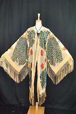 Classic Baby Golden Hippie Peacock Burnout Velvet Kimono Fringe Jacket Coat (XL)