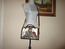 American West  Large -Chocolate  Pony Hair  Satchel / crossbody bag with Studs