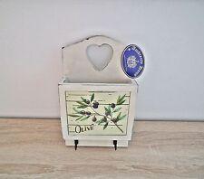 Briefbox 2 Haken Olive Vintage Shabby Chic Hängefach Aufbewahrung Holz Cremeweiß