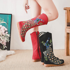 Womens Chinese Style Handmade Embroidered Floral Flat Boots Glitter Calf Shoes