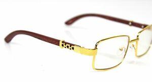 Mens Rectangular Gold Frame Clear Lens Eye Glasses Elegant Sophisticated Fashion