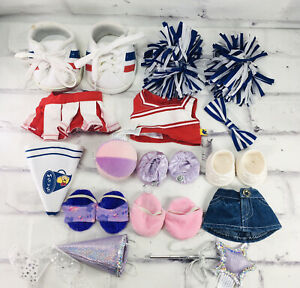 Build A Bear New Clothing Lot Cheerleader Skirt Sneakers Shoes Pink Purple Wand